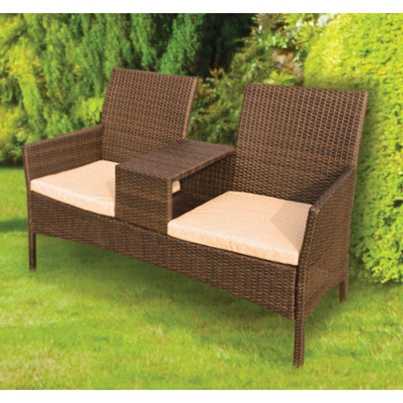 Wicker Tete A Tete Garden Seat Buy Online at QD Stores