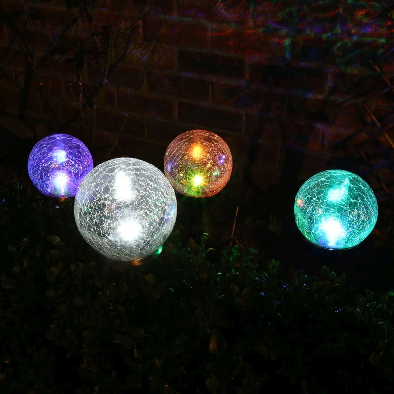 Globe Solar Light Colour Changing Stainless Steel