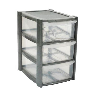 14L Premier 3 Drawer Plastic Storage Tower Clear & Grey