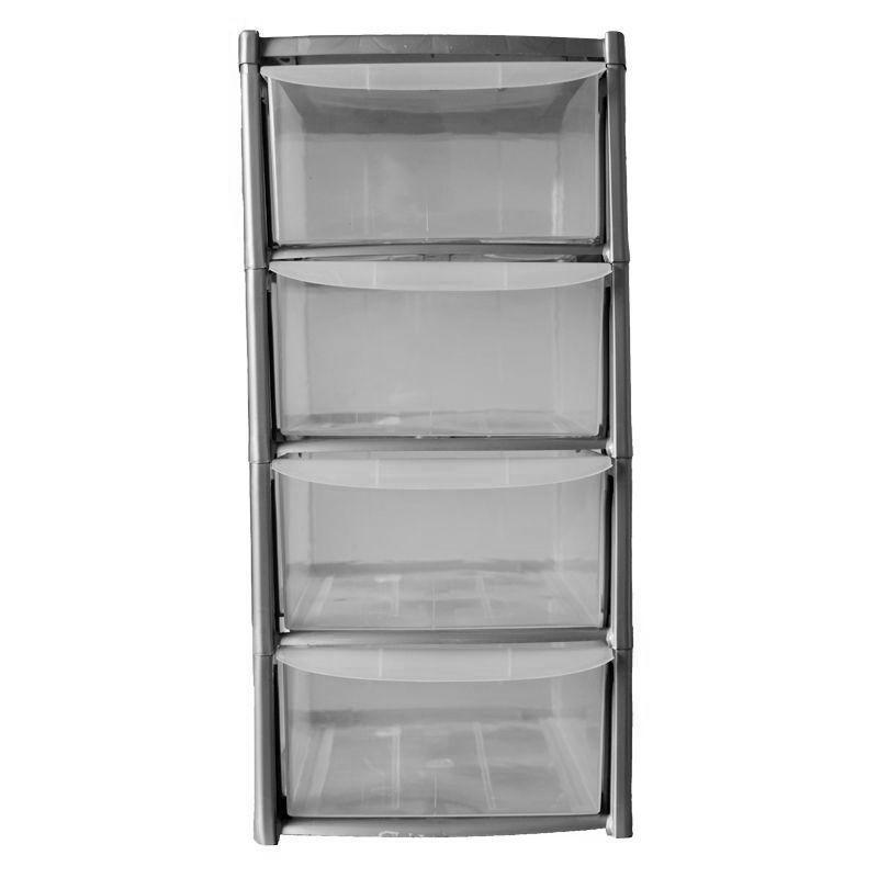 19l premier 4 drawer plastic storage tower clear grey buy online at qd stores. Black Bedroom Furniture Sets. Home Design Ideas