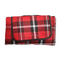 See more information about the Acrylic Picnic Blanket (125cm x 150cm) - Red With Black Stripes