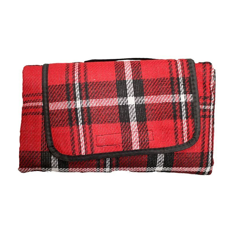 Acrylic Picnic Blanket (125cm x 150cm) - Red With Black Stripes
