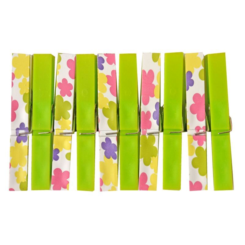 Your Home Colourful Clothes Pegs (Pack of 20) - Green Flowers