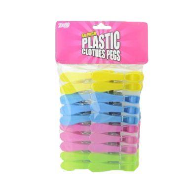 40 Plastic Clothes Pegs (Various Colours)