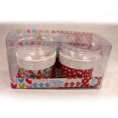 12 Large Round Curled Cupcake Cases with Lid