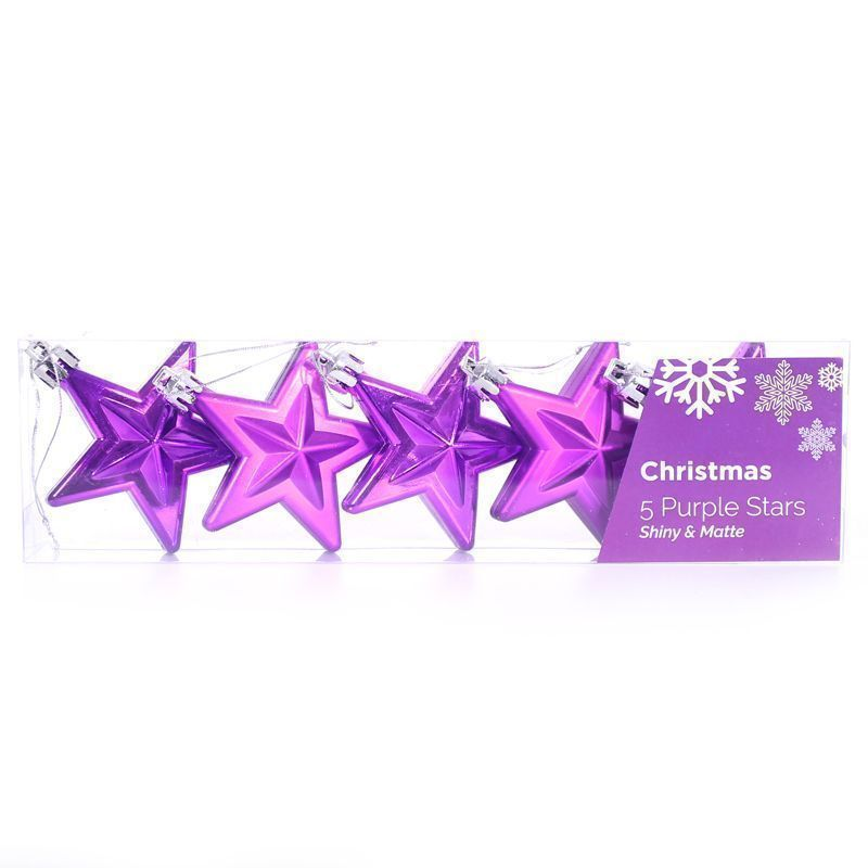 Pack of 5 Christmas Stars Decoration (6cm) - Purple