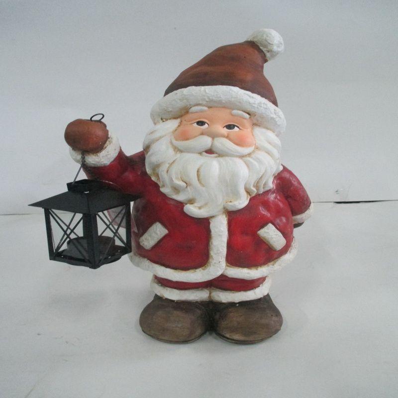 Polyresin santa figurines with metal lantern buy online