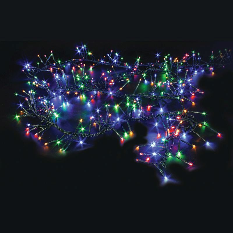 Outside Fairy Lights B Q: 480 LED Multicolour Outdoor Animated Cluster Fairy Lights