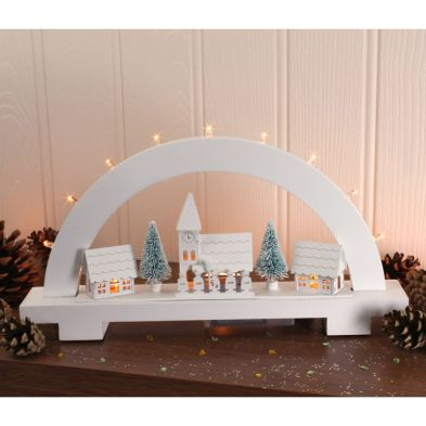 Wooden Candle Bridge with 8 LED Warm White Lights