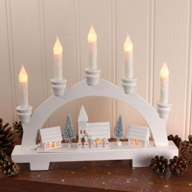 Wooden Bridge and Village with 8 LED Warm White Candle Lights