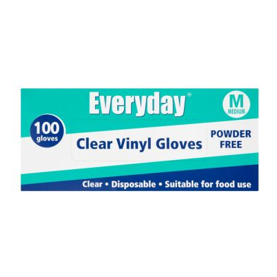 Everyday Disposable Clear Vinyl Gloves - Medium 100 per pack
