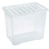 See more information about the 80L Premier Stacking Plastic Storage Box Clear & Clip Lid