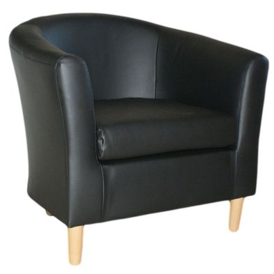 Black Faux Leather Tub Chair  Nicole