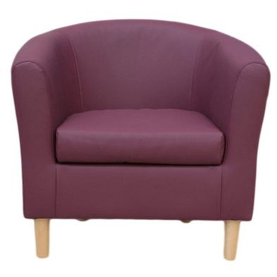 Faux Leather Tub Chair Plum  Nicole