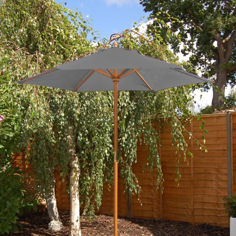 Charcoal Grey Wooden Parasol (2m)