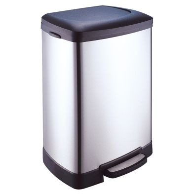 50 Litre Stainless Steel Step Bin With Slow Close Lid