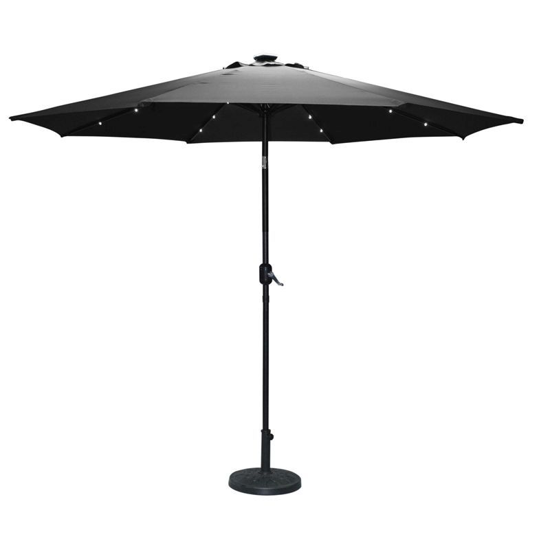Torbay Charcoal 2.7m Umbrella with Solar Lights
