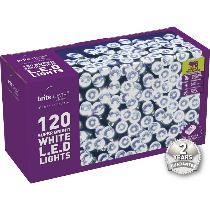 120 Bright White LED Christmas lights with a 2 year Guarantee