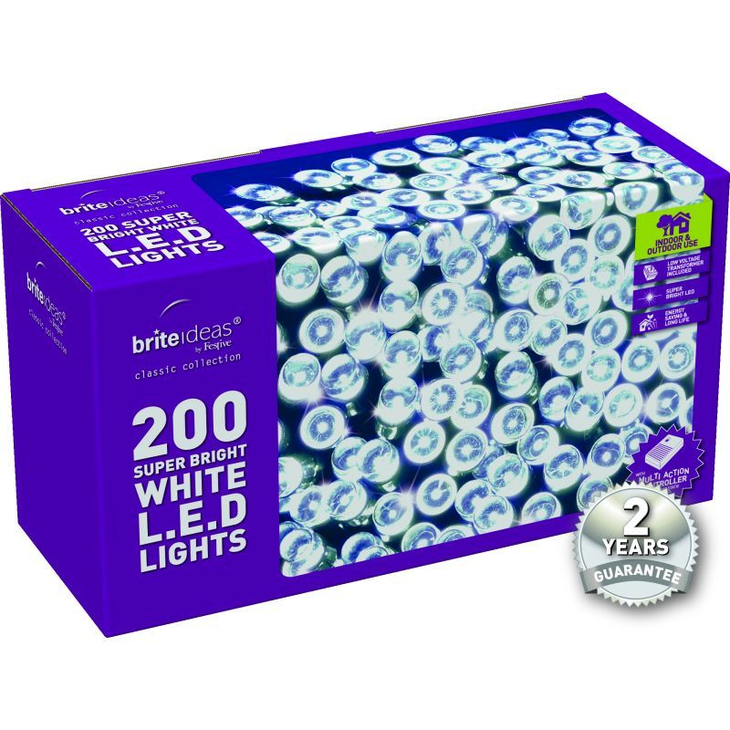 200 Bright White LED Christmas lights with a 2 year Guarantee