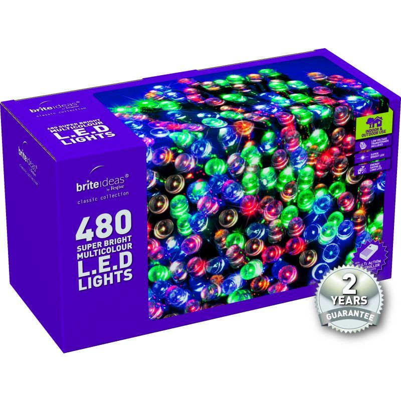 480 Multicolour LED Christmas lights with a 2 year Guarantee.