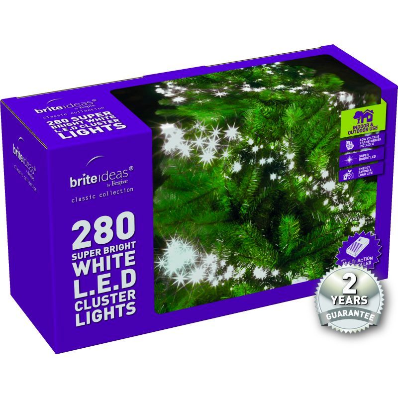 280 Cluster Bright White LED Christmas lights with a 2 year Guarantee.