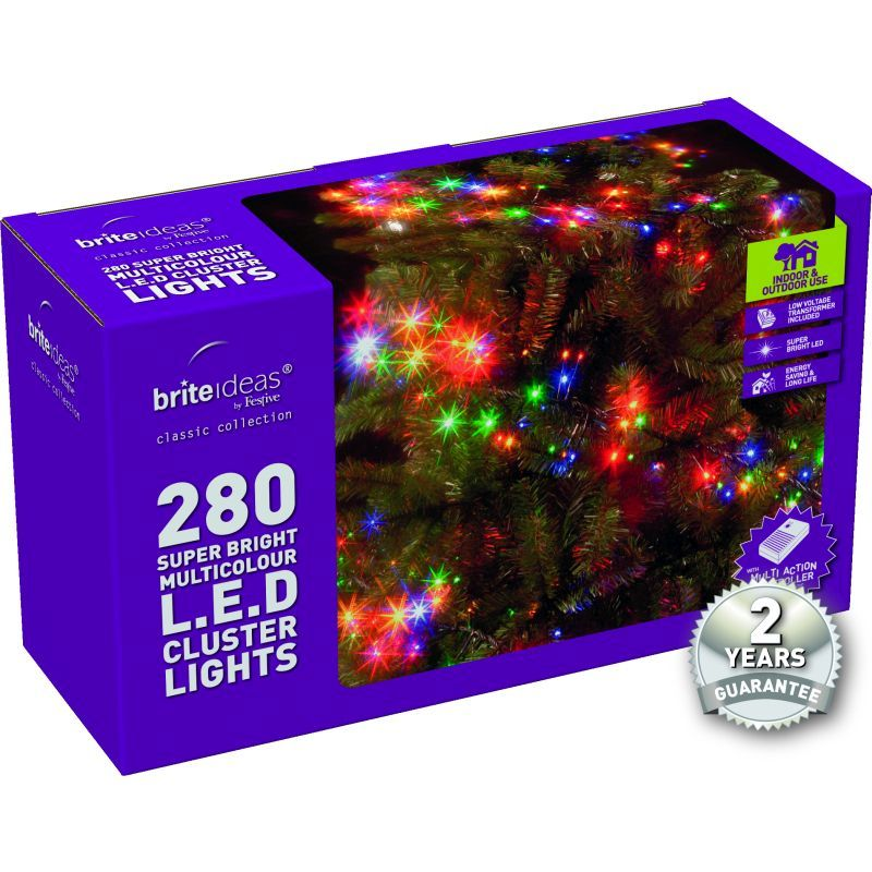 280 Cluster Multicolour LED Christmas lights with a 2 year Guarantee.