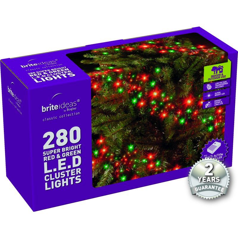 280 Cluster Red/Green LED Christmas lights with a 2 year Guarantee.