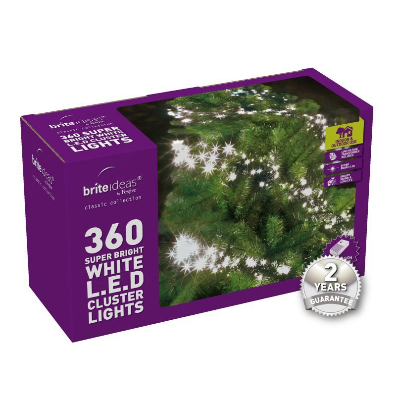 360 Cluster Bright White LED Christmas lights with a 2 year Guarantee.