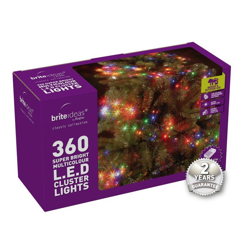 360 Cluster Multicolour LED Christmas lights with a 2 year Guarantee.