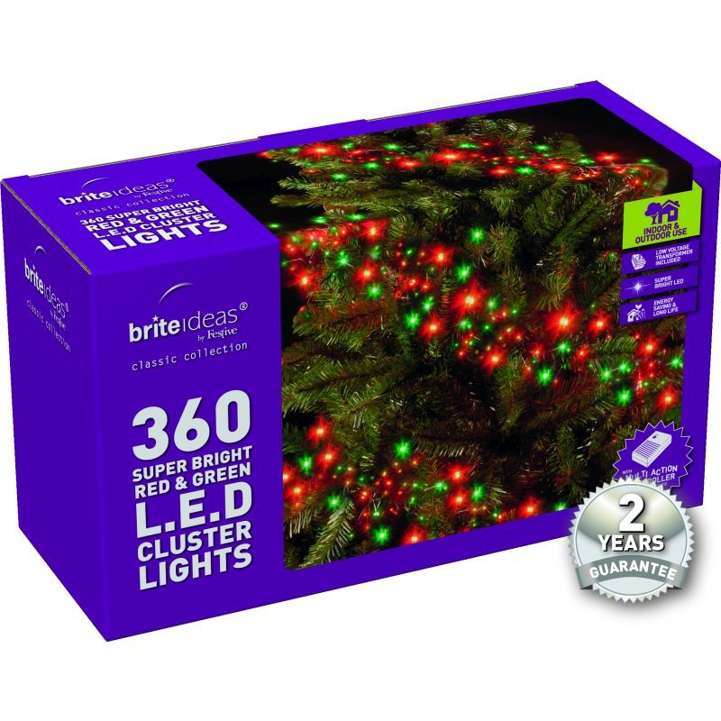 360 Cluster Red/Green LED Christmas lights with a 2 year Guarantee.