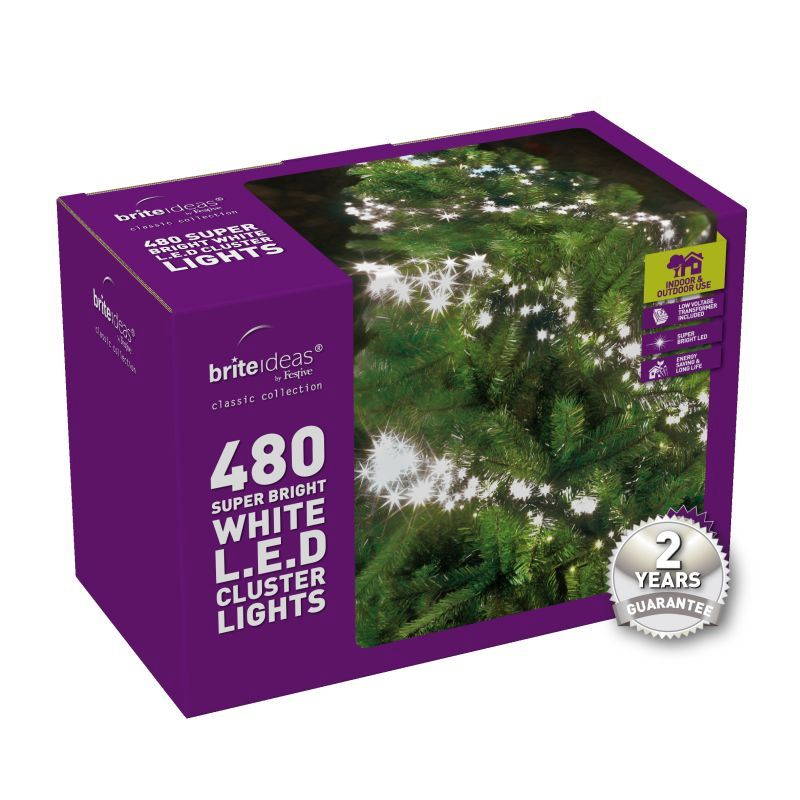 480 Cluster Bright White LED Christmas lights with a 2 year Guarantee.