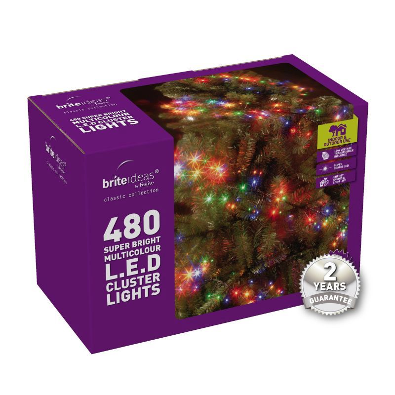 480 Cluster Multicolour LED Christmas lights with a 2 year Guarantee.