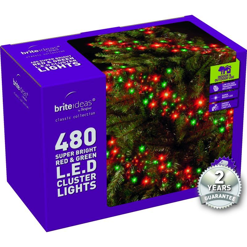 480 Cluster Red/Green LED Christmas lights with a 2 year Guarantee.