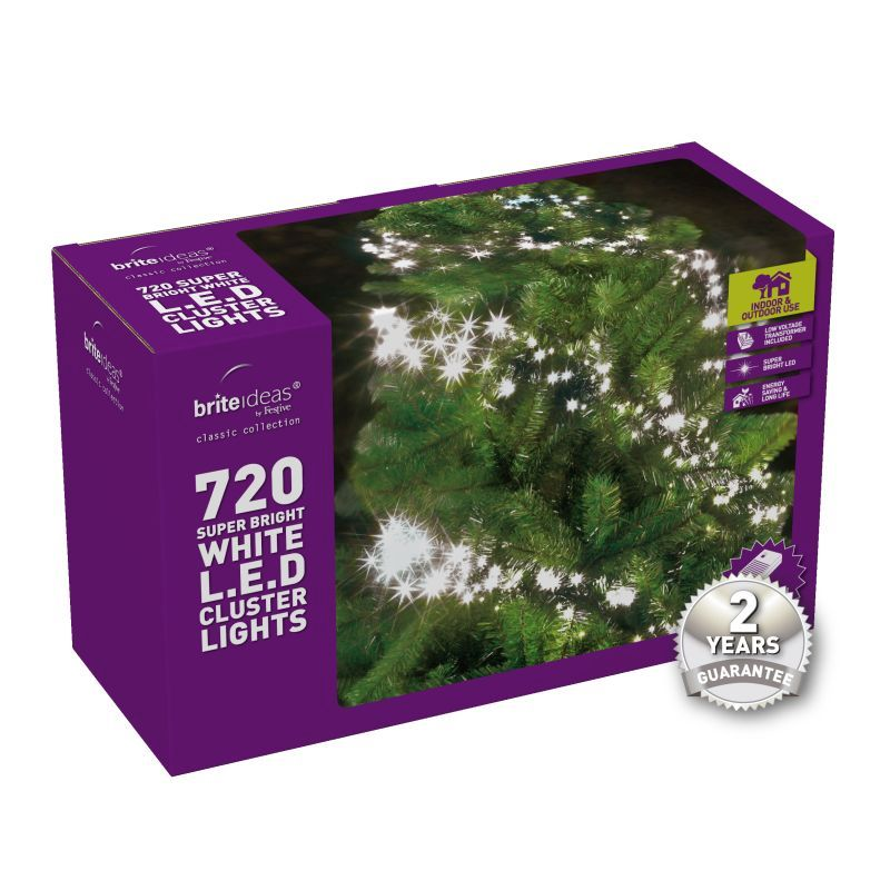 Bright Led Christmas Lights.720 Cluster Bright White Led Christmas Lights With A 2 Year Guarantee