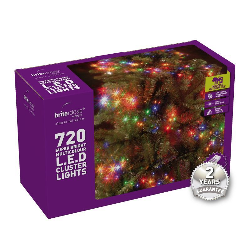 720 Cluster Multicolour LED Christmas lights with a 2 year Guarantee.