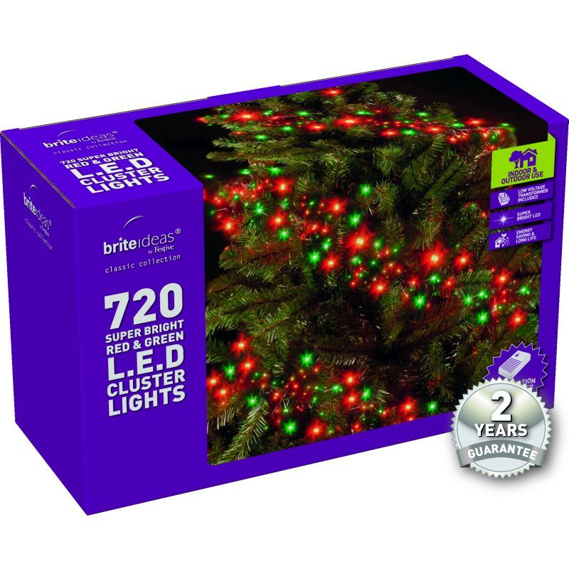 720 Cluster Red/Green LED Christmas lights with a 2 year Guarantee.