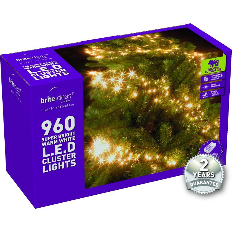960 Cluster Warm White LED Christmas lights with a 2 year Guarantee.
