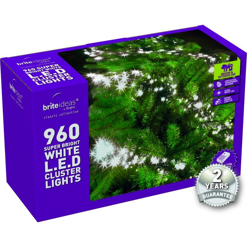 960 Cluster Bright White LED Christmas lights with a 2 year Guarantee.