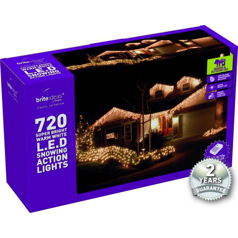 720 Snowing Icicle Warm White LED Christmas lights with a 2 year Guara