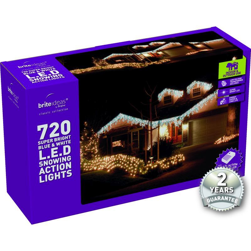 720 Snowing Icicle Blue/Bright White LED Christmas lights with a 2 yea