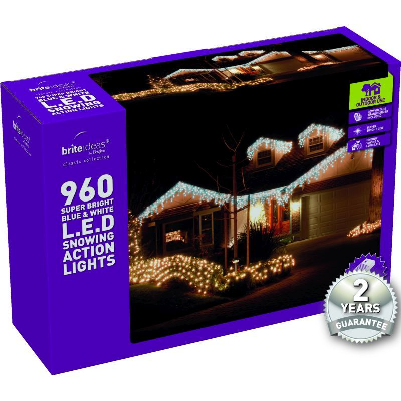 960 Snowing Icicle Blue/Bright White LED Christmas lights with a 2 year Guarantee.