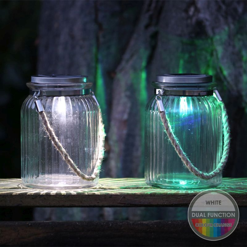 Solar Garden Light Glass Jar With Rope