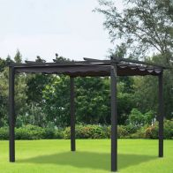 See more information about the Croft 3m x 3m Charcoal Pergola Summer Garden Gazebo