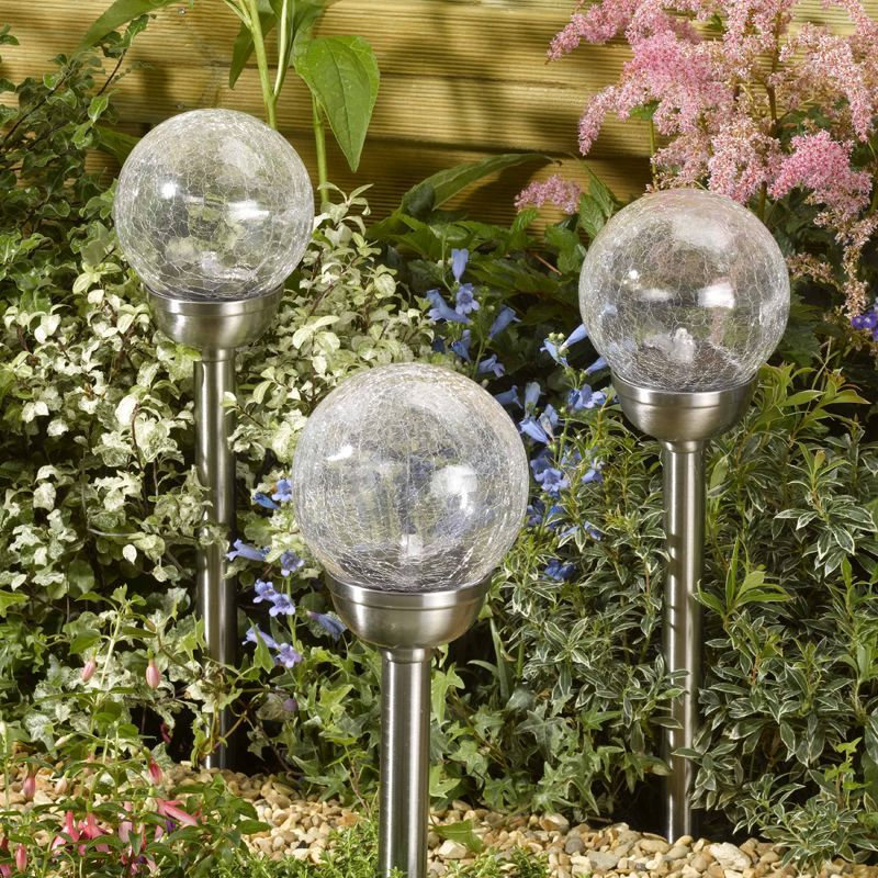 Stainless Steel Crackle Glass Solar Light