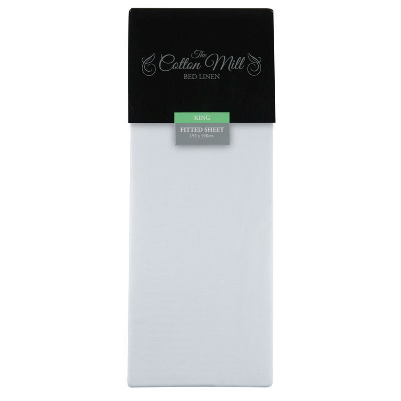 Cotton Mill White King Poly Cotton Fitted Sheet
