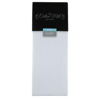 Cotton Mill White Double Poly Cotton Flat Sheet