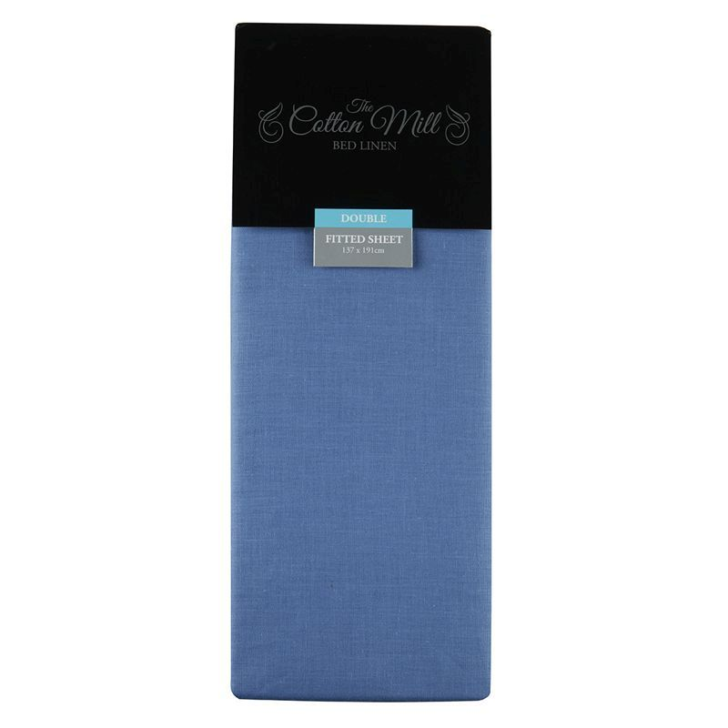 Blue Double Poly Cotton Fitted Sheet