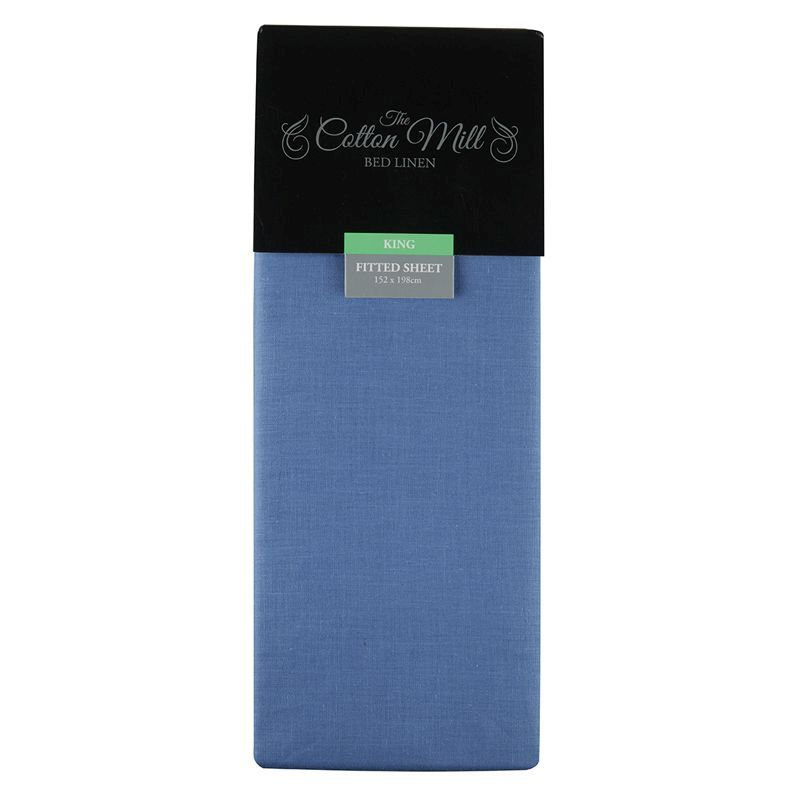 Cotton Mill Blue King Poly Cotton Fitted Sheet