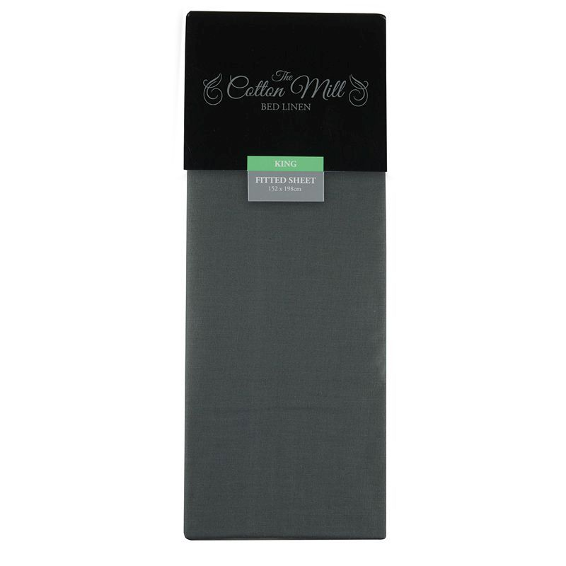 Cotton Mill Charcoal King Poly Cotton Fitted Sheet