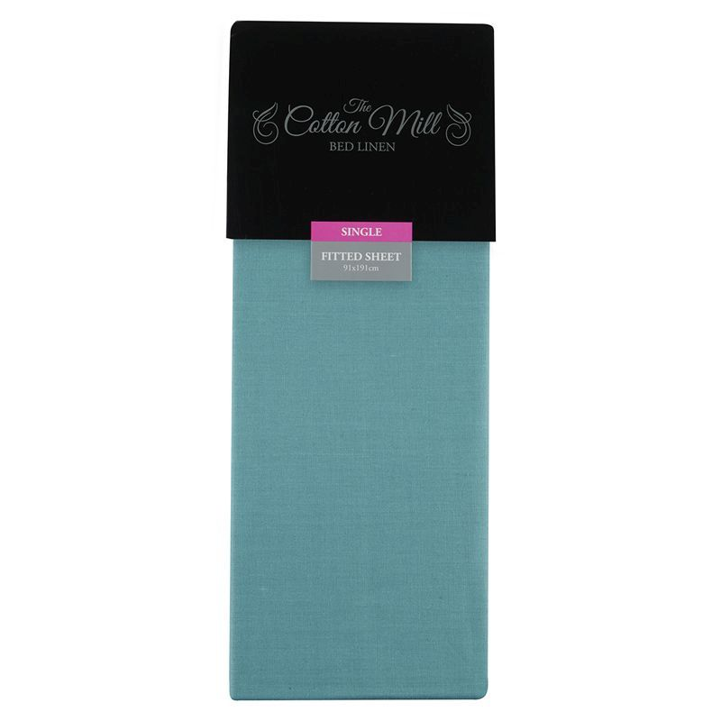 Teal Single Poly Cotton Fitted Sheet